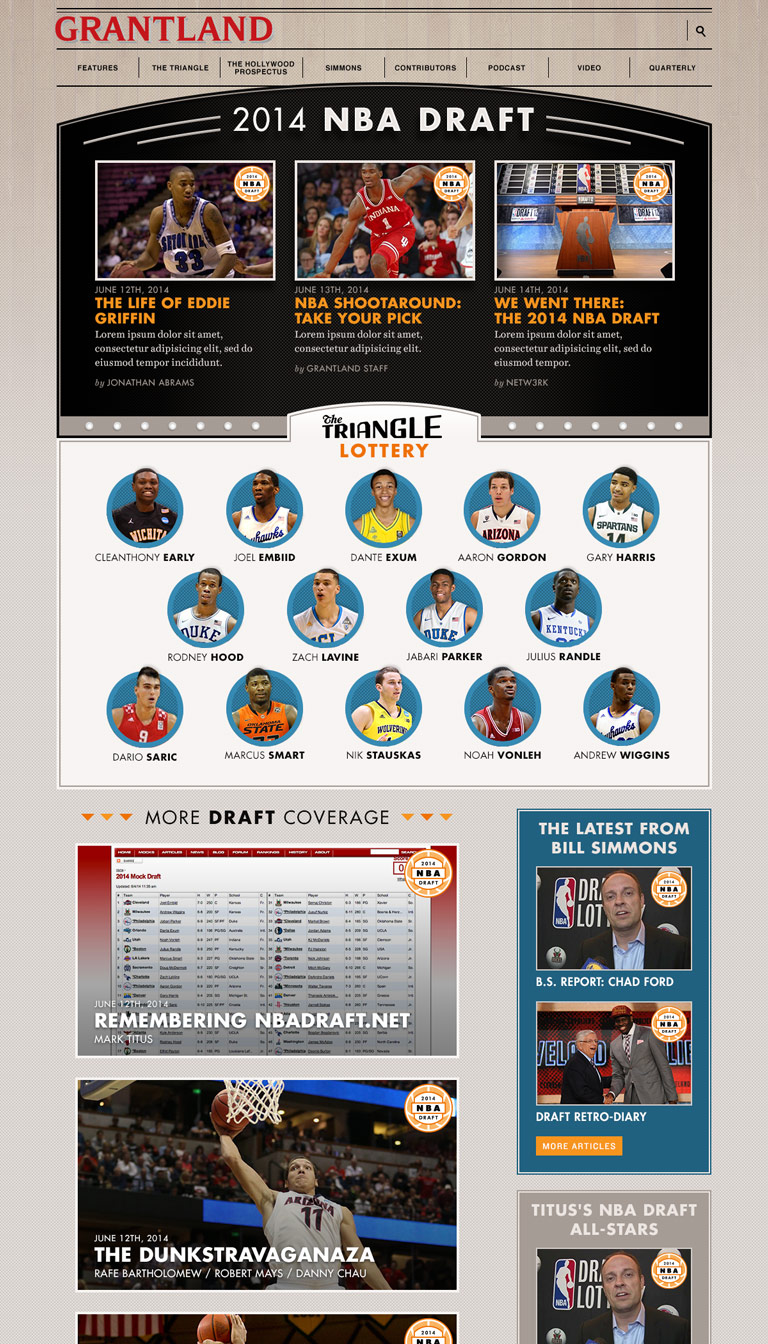 Grantland - NBA Draft page
