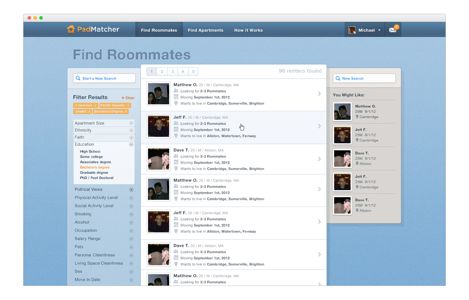 PadMatcher - roommate search results