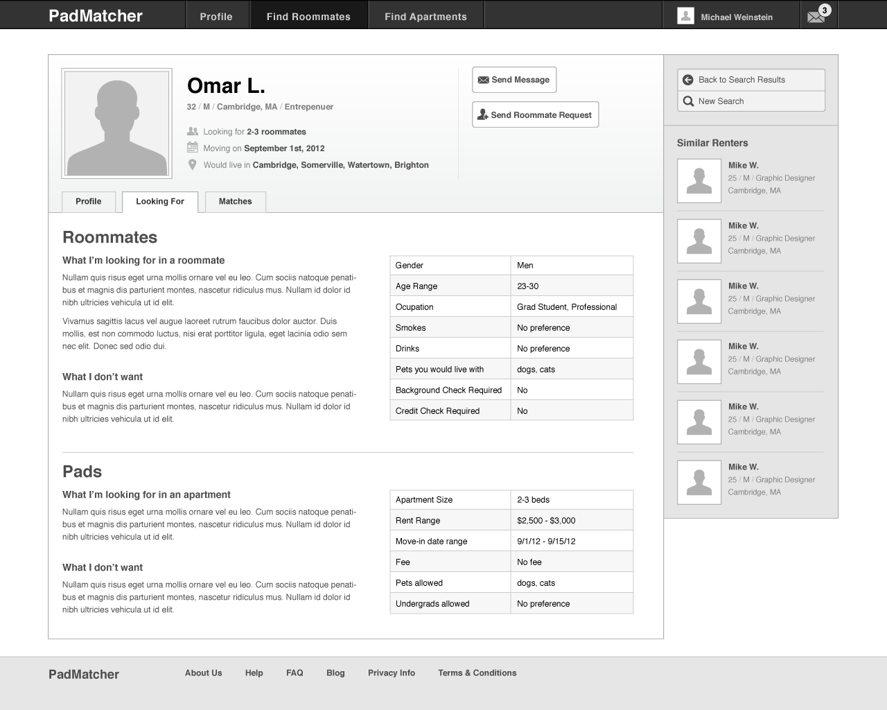PadMatcher - wireframe - Roommate profile - Details
