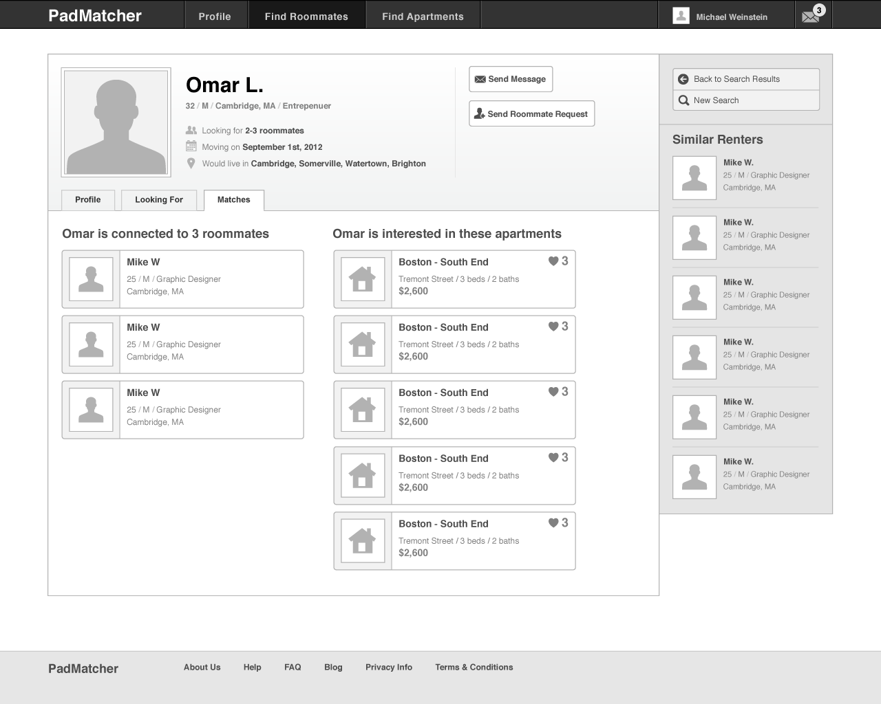 PadMatcher - wireframe - Roommate profile - Matches
