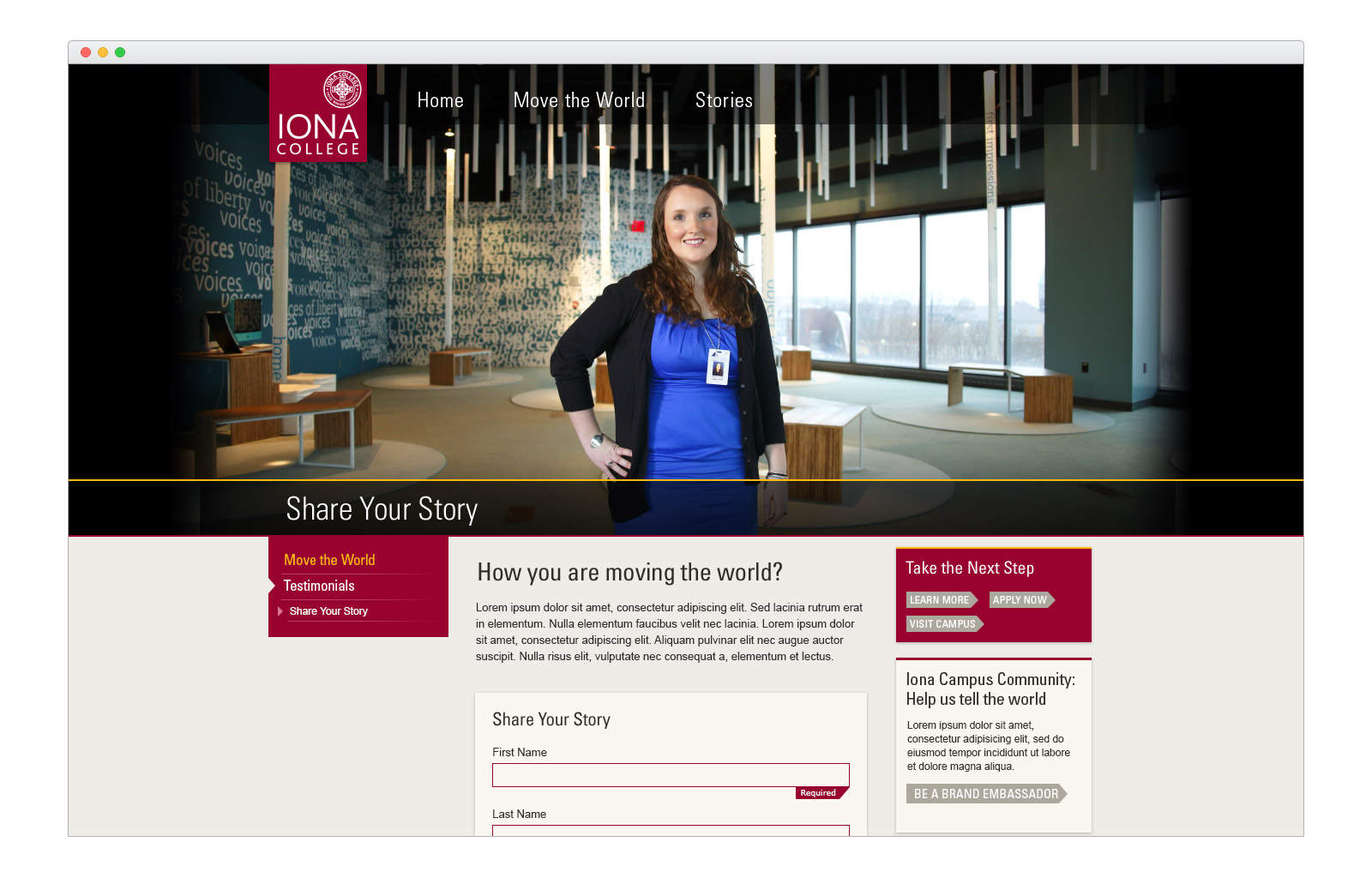 Iona Microsite - Share Your Story - browser