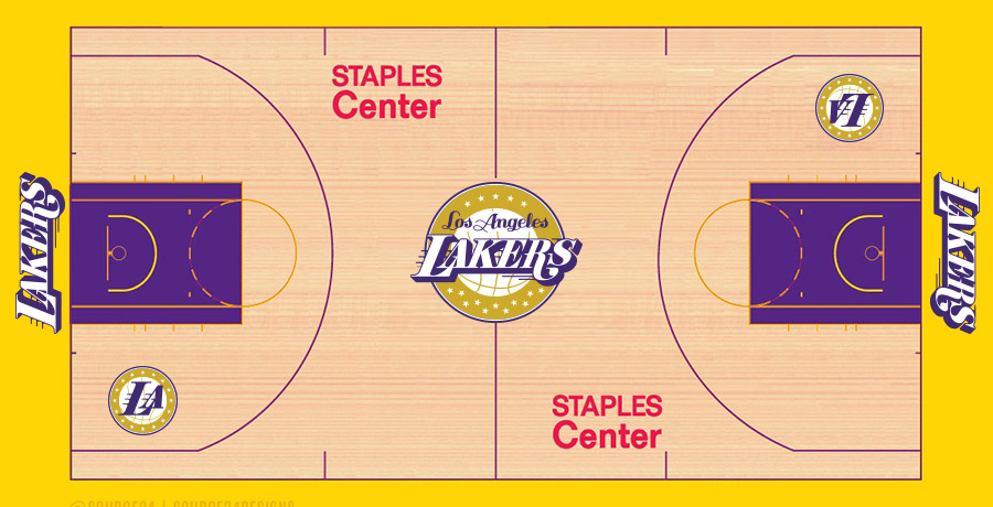 NBA Logo Redesigns: Los Angeles Lakers - court design